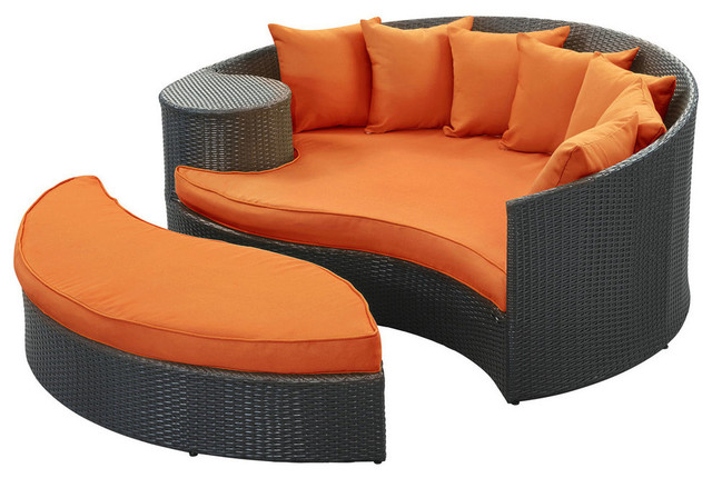 2017 garden furniture outdoor rattan patio wicker daybed and ottoman