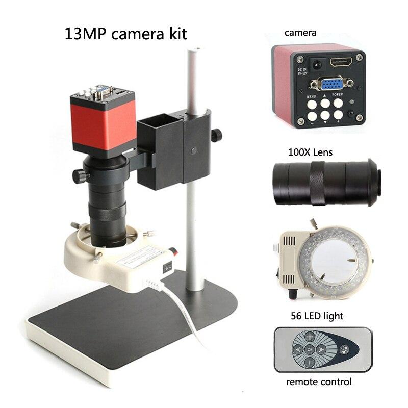 Controle remoto infravermelho 13MP 720 P HDMI câmera microscópio industrial eletrônico digital + 100X C lente, suporte PCB reparação
