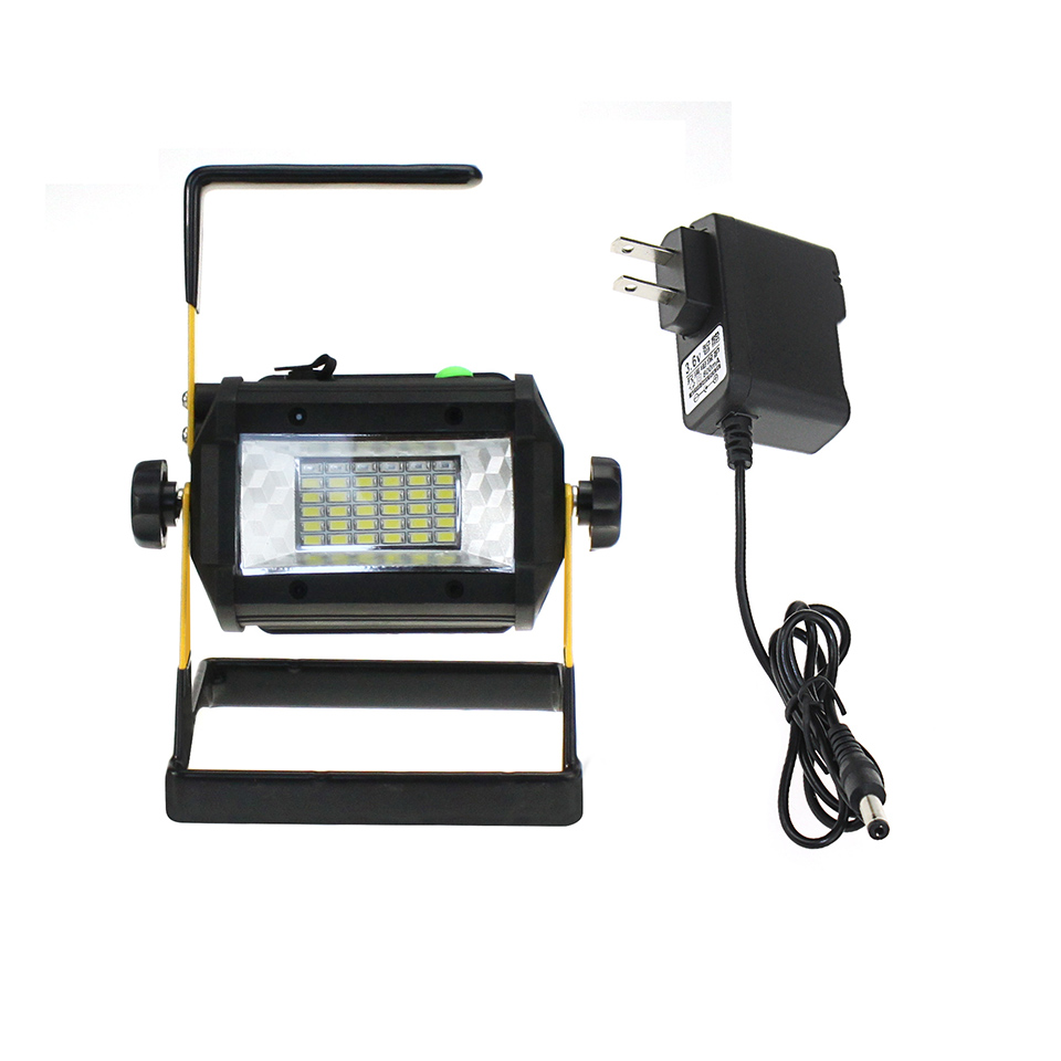 Rechargeable Work Light Led Flood Light 90 240V AC Charger And 4 18650 Batteries Spotlight For Outdoor Camping Garden Lighting in Portable Spotlights from Lights Lighting