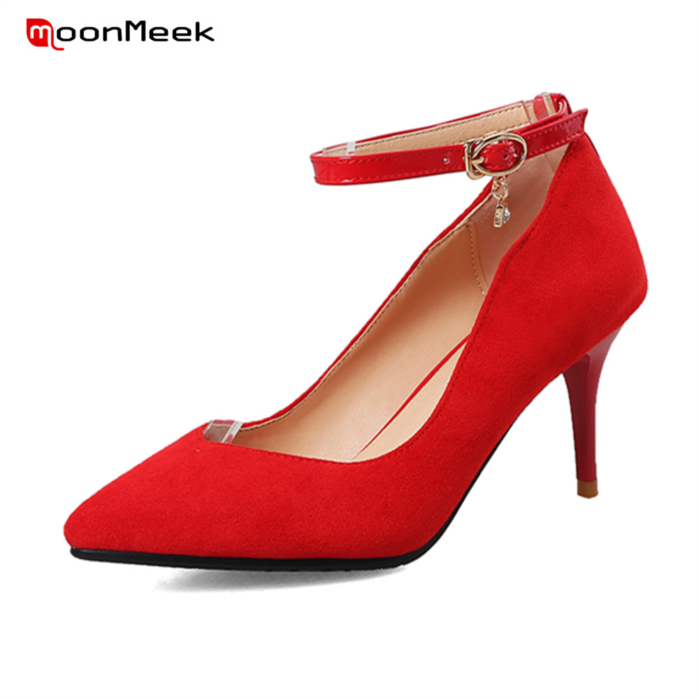 MoonMeek hot prevail red wedding shoes extreme high heel ladies shoes pointed toe thin heel with buckle sexy pumps women shoes moonmeek spring summer new arrive high heels pointed toe with buckle sexy flock thin heel women pumps wedding party shoes