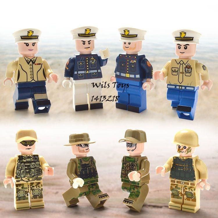 8 pcs Marine Corps MILITAIRE Navy Seals Équipe WW2 Arme SWAT Soldats Armée Building Blocks Briques Figurines Jouets pour Garçons enfants