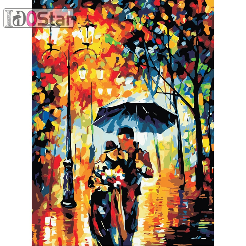 Romantico A Piedi Foto By Numbers Fai Da Te Dipinta A Mano Amante Sotto La Pioggia Pittura A Olio Bello A Colori