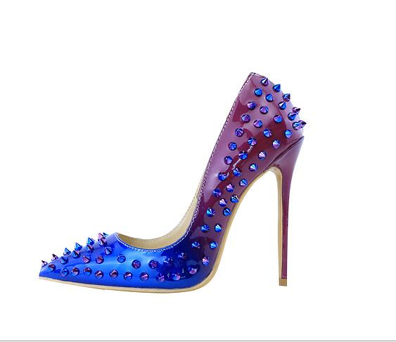 ФОТО Top Quality LTTL Women Mixed Color Spike Pump Genuine leather Gradient Rivets High Heels Sexy Pointed Toe Women Wedding Shoes