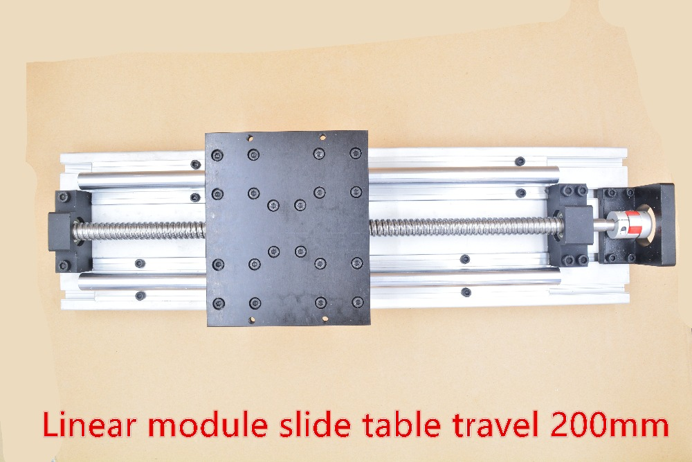 Linear module straight slipway cnc guide ball screw slide table travel 200mm