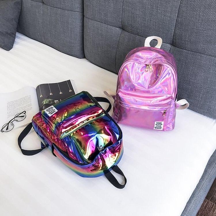 Women/'s Alien Cartoon PVC Hologram School Bag Backpack Clear Purses Bags POP US