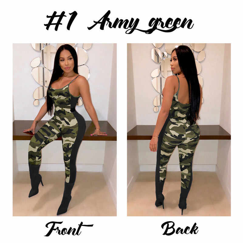 Women Jumpsuit Sexy Bodycon Wear Hot Green Gary Backless Summer Jumpsuits Clothes Long Pants Camouflage Rompers Sunsuits Outfis