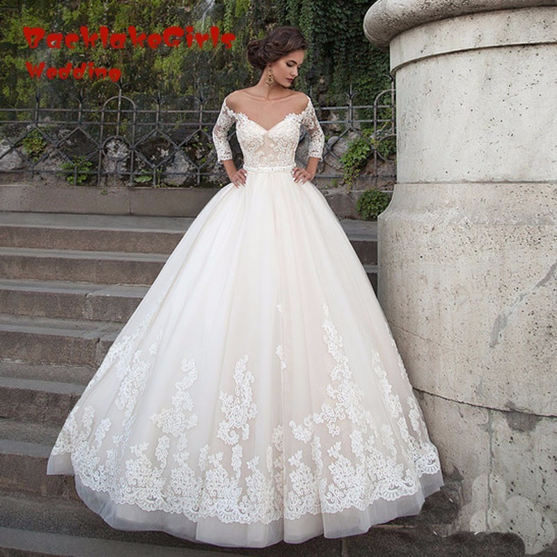 Saudi Arabia Wedding Dresses A Line Lace Applique With Sleeves Champagne Wedding Dress 2018 font b