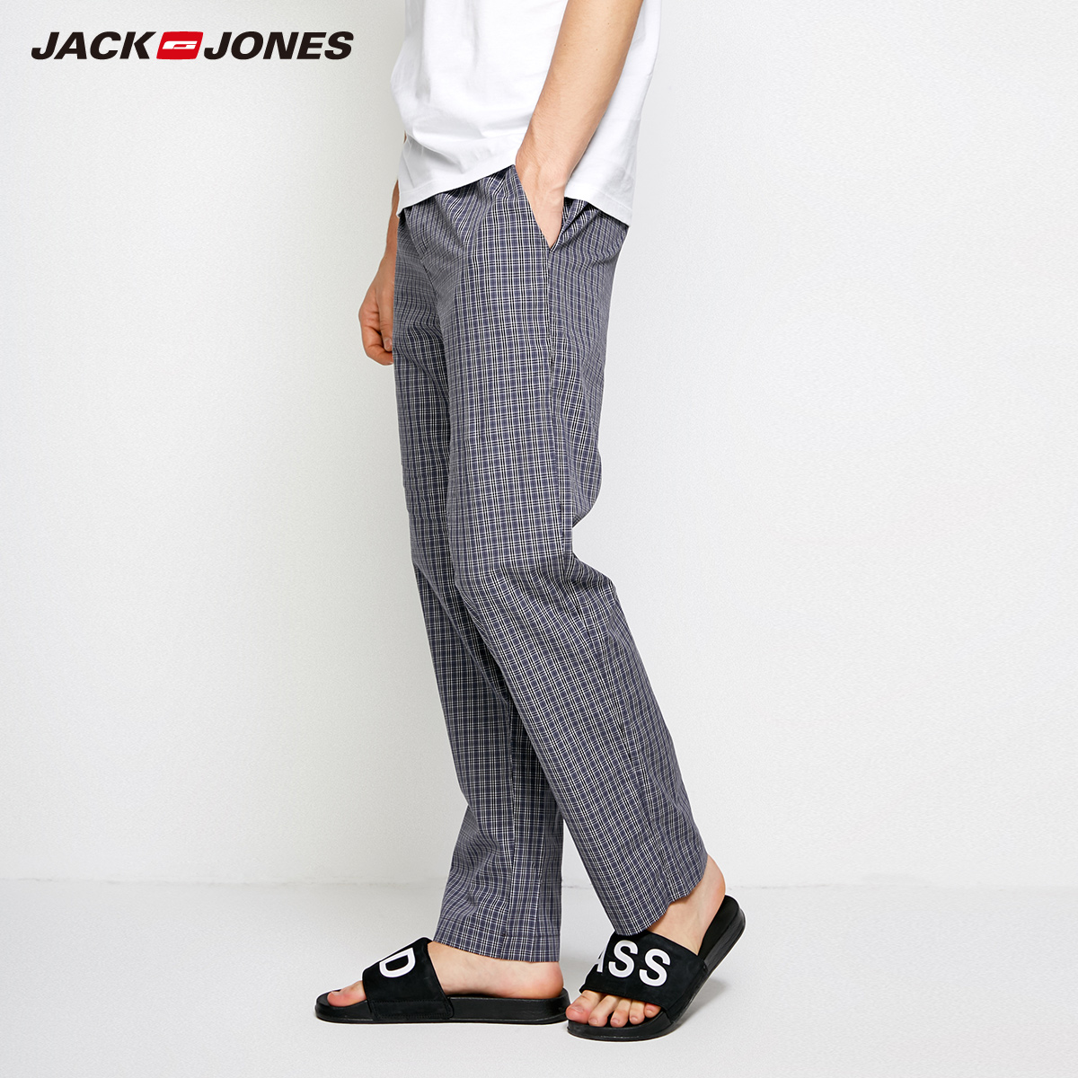 Jack Jones Spring Summer New Men Cotton Pants Casual Plaid Pants Men Trousers |2183HC501