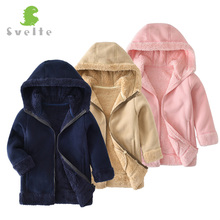 Фотография SVELTE for 2-9Y Fashion Chlidren Boys Girls Unisex Thick Fur Fleece Hoody Windbreaker Jacket Kids Casual Sweatshirts Fall Winter