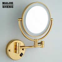 LED Gold Brass Cosmetic Mirror Wall Mounted Bathroom Beauty Mirror Double Faced Makeup Mirror Antique Folding