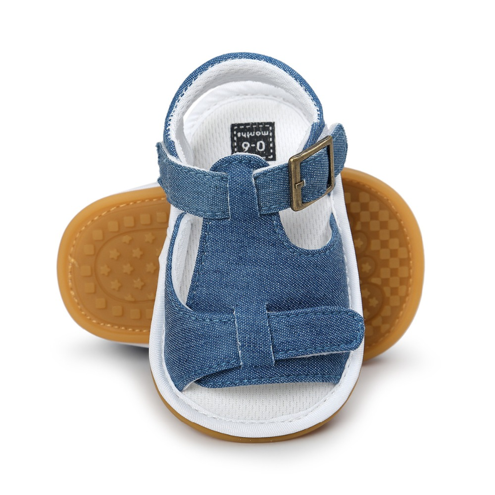 2017 New Spring Solid Cute hard rubber Baby moccasins child Summer boys sandals pu leather Infant Fabric shoes baby sandals