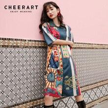 364b5941fd Cheerart w stylu Vintage koszula sukienka kolor bloku druku letnia sukienka  2019 przycisk Up sukienka Polo markowe ubrania dla k.