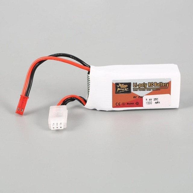 ZOP Power 7.4V 1000mAh 25C 2S 1P Lipo Battery JST Plug Rechargeable For RC Racing Drone Helicopter Multicopter Car Model