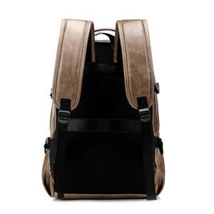 Image 4 - حقيبة ظهر للسفر من جلد البولي يوريثان مقاس 14 بوصة لحمل الكمبيوتر المحمول المحمول حقيبة ظهر بسعة كبيرة للرجال والنساء حقائب غير رسمية