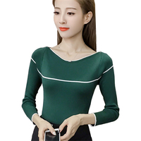 2017 Korean Autumn Winter Knitted Sweaters For Woman Femme Slim Comfortable O Neck Long Sleeve Pullovers