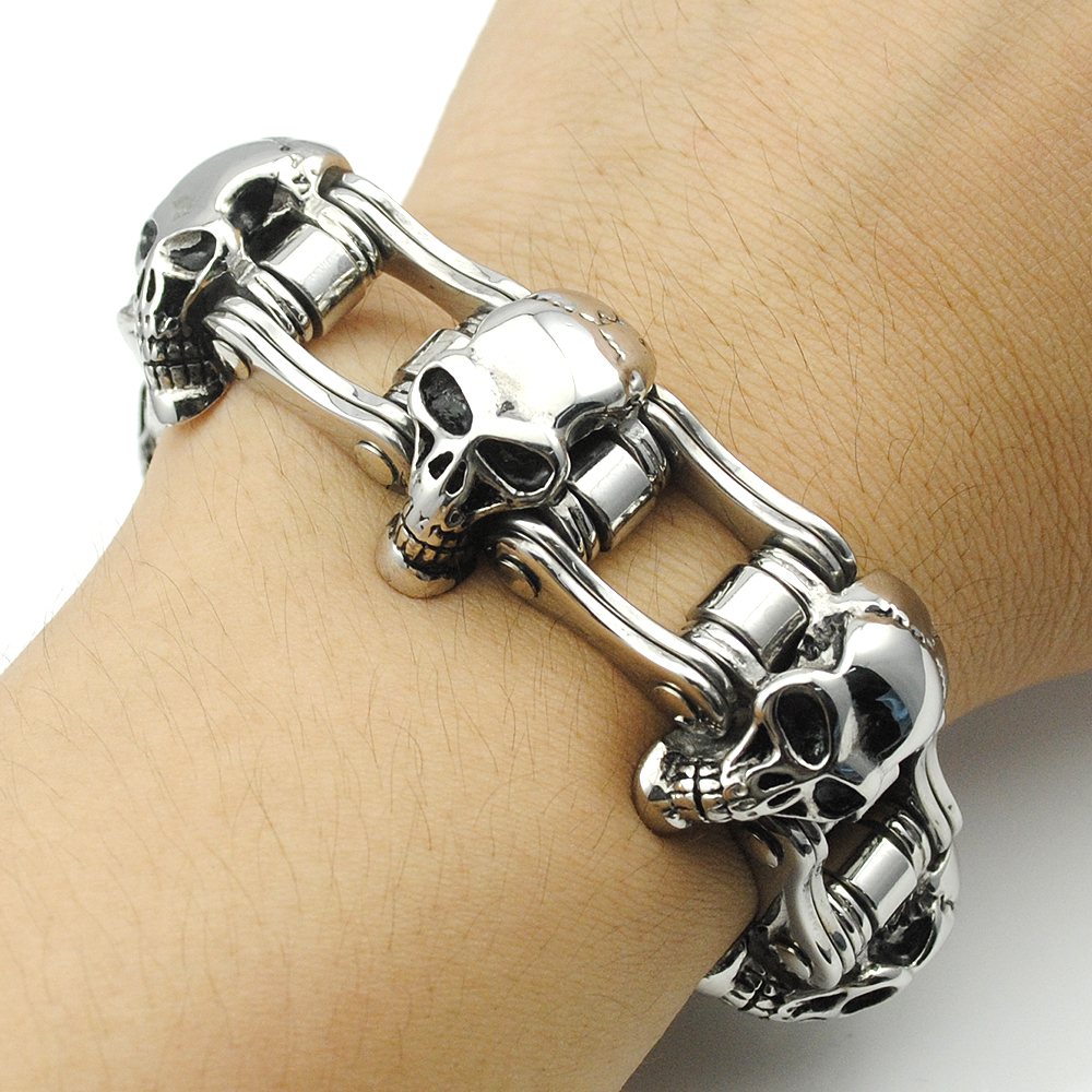 High Quality! 23mm Width Skull Bracelet 316L Stainless Steel Big Heavy Men Bracelet Biker Motorcycle Hand Chain Wholesale KB013 23mm width punk stainless steel bracelet men double biker bicycle motorcycle chain men s bracelets mens big bracelets