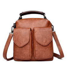 vintage women backpack high quality PU leather school backpacks for teenage girls casual large capacity shoulder bags tote bags women backpack high quality pu leather sac a main school bags for teenagers girls top handle large capacity student package