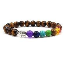Бусины из натурального камня, 7 чакр, целебный баланс, слон, браслеты с подвесками, Йога, рейки, молитва, браслет из бисера для мужчин и женщин, pulseira