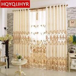 Wykonane na zamówienie w stylu europejskim luksusowe beżowe dekoracyjne hafty podłogowe zasłony wysokiej jakości przędza do haftu do salonu/sypialni