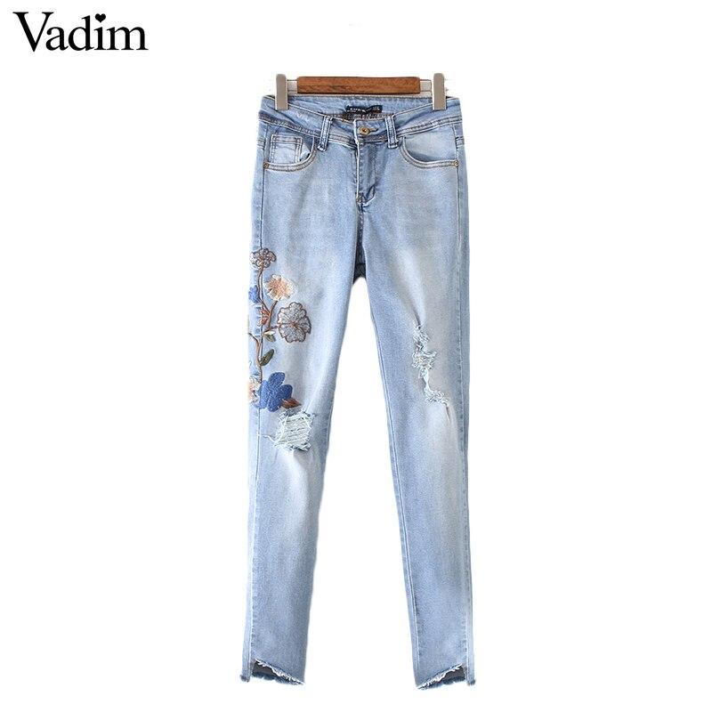 Vadim Women Vintage Floral Embroidery Holes Denim Jeans