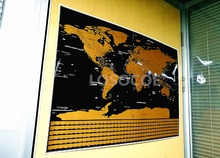 Hot sale! Travel World Map Scratch Off Word With Country Flags Posters, Mini Foil Layer Coating Poster Wall Stickers