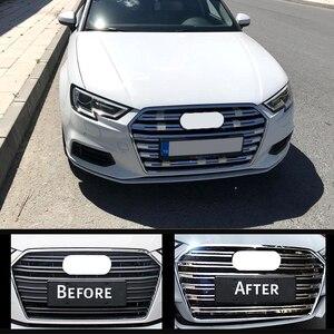 Image 2 - OYAMARIVER Orijinal Yeni ABS Ön Izgara Dekoratif Kapak Trim Şeritleri 10 adet Için Audi A3 Araba Styling Tampon dekorasyon Çıkartmaları