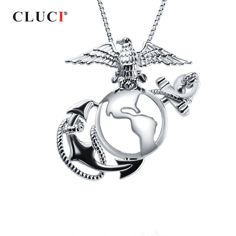 CLUCI Silver 925 Sterling Cage Pendant for Pearl Jewelry Making Women Eagle Cage Pendants US Marine Corps Badge PendantCLUCI Silver 925 Sterling Cage Pendant for Pearl Jewelry Making Women Eagle Cage Pendants US Marine Corps Badge Pendant