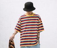 f3741b5068212b ... lato mężczyźni kobiety T shirt paski. 7 Color Rainbow Lovers Couple T  Shirt Cotton Vintage Hip Hop Harajuku Tops Tee Streetwear Summer