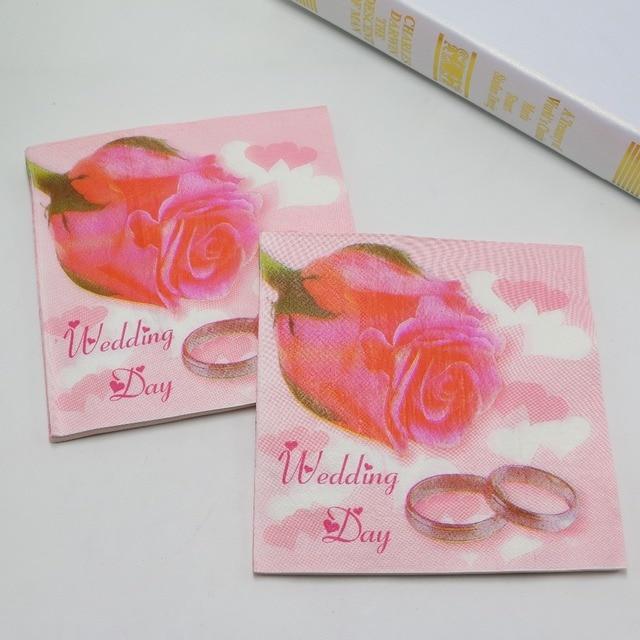 315 P1531 Anneau De Mariage Serviettes Rose Fleur Floral Romantique Pliage Des Serviettes De Mariage 20 Pcspack 33x33 Cm Dans De Sur