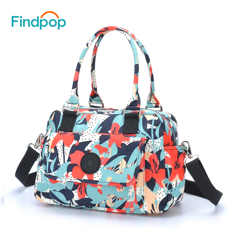 Findpop Fashion Casual Handbags Ladies Large Capacity Canvas Crossbody Bag For Women 2018 Fashion Floral Printed Top-Handle Bags findpop floral printing handbag fashion waterproof nylon crossbody bag for women 2017 large capacity casual shell top handle bag