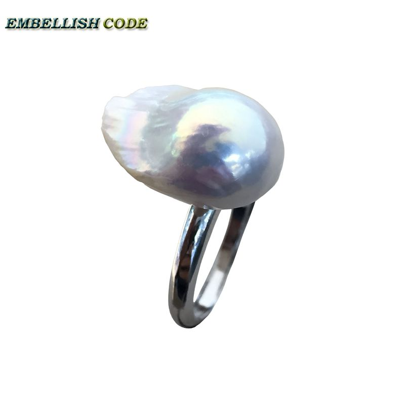 Adjustable size Resize baroque pearl 925 silver ring simple style white Lustrous tissue nucleated fire ball shape for women fire granny 2018 11 20t20 00