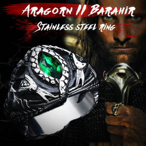 BEIER Men Jewelry Punk-Rock Aragorn-Ii One-Ring-Of-Power Snake Stainless-Steel Barahir
