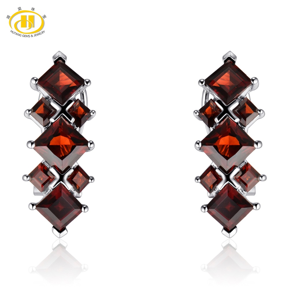 Hutang Red Garnet Clip Earrings Natural Gemstone Solid 925 Sterling Silver Fine Fashion Stone Jewelry For