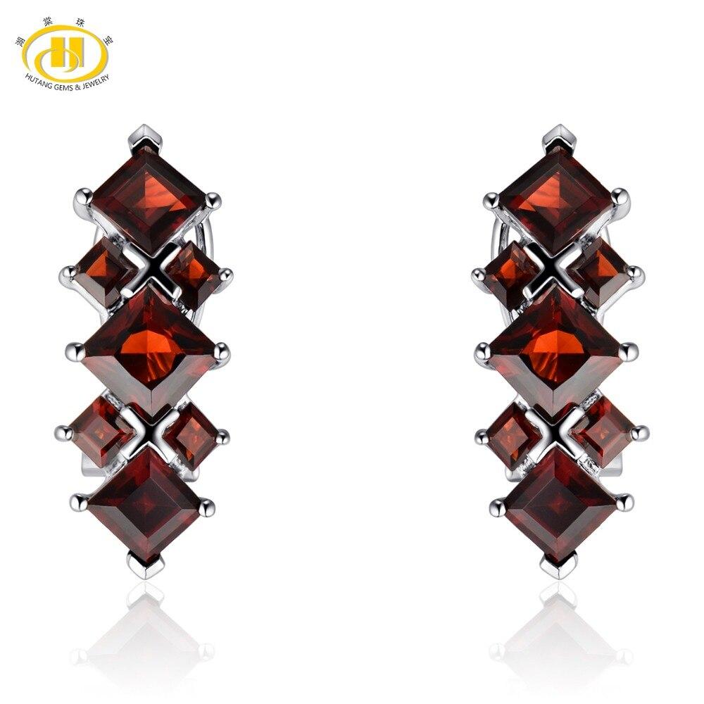 Hutang rouge grenat femmes Clip boucles d'oreilles pierre précieuse naturelle solide 925 Sterling argent fin élégant bijoux pour cadeau de noël