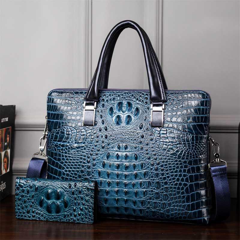 Mans Crocodile Pattern Briefcase PVC Leather Messenger Bag  Famous Brand Fashion Laptop Bags For 14 Inch Handbag