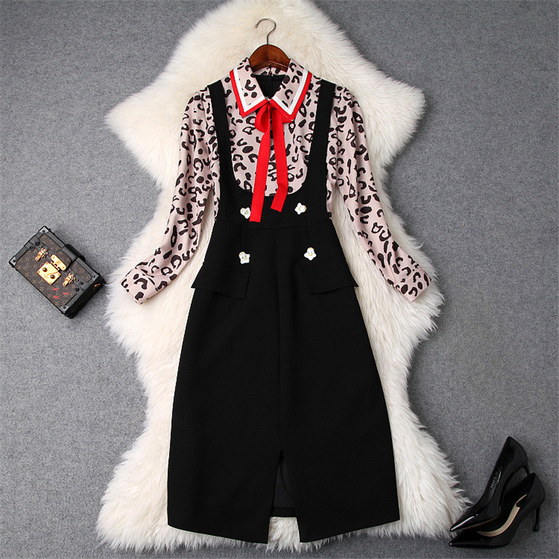 Top Quality Runway Designer Woman Dress 2019 Spring Fashion Long Sleeve Leopard Print Patchwork False Two