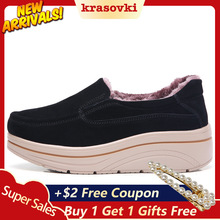 Krosovki Winter Women Shoes Plush Inside Platform Slip on Creepers Moccasins Slipony Female Suede Sneakers Warm