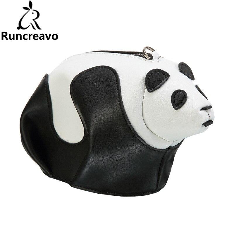 2018 femmes en cuir véritable sac coréen noir et blanc hit couleur Panda femmes messenger sacs à bandoulière sacs à main sac a main bolsa