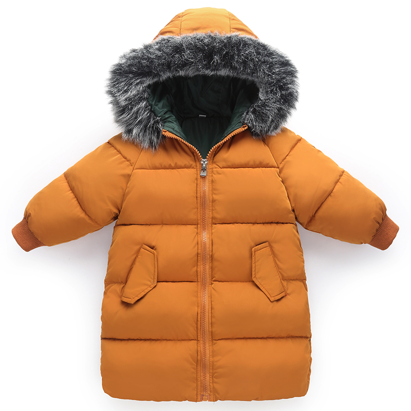 1-6 Years Kids Winter Coat Down Cotton Padded Thick Warm Toddler Boys Girls Down Jacket Hooded Long Children Outwear Parkas Z335 children s clothing girls winter down jacket 2018 baby kids long fur hooded thick outerwear toddler girl warm padded cotton coat