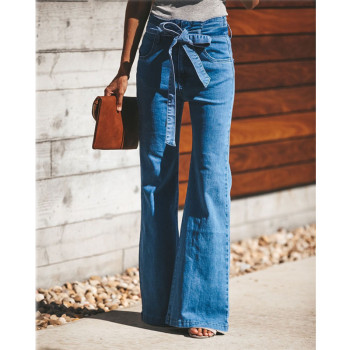 Blue Tie Waist Flare Jeans Women Slim Denim Trousers Vintage Clothes 2019 spring High Waist Pants Belted Stretchy Wide Leg Jeans tie waist flare hem jeans women denim trousers vintage ladies clothes fall high waist pants belted stretchy jeans wide leg jeans