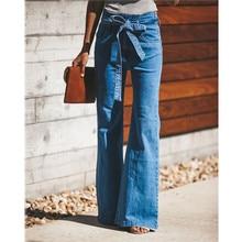 Gravata azul de Cintura Incendiar calças de Brim Das Mulheres Calças Jeans Fino Do Vintage Roupas 2019 mola Calças De Cintura Alta Com Cinto Elástico Calça Jeans Perna Larga