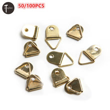 Wholesale 50/100PCS Golden Triangle D-Rings Hanging Picture oil Painting Mirror Frame Hooks Picture Frame Hanger(China)