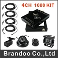 4ch SD card 1080P mobile DVR h.264 car alarm monitoring system solution + 4 HD extension cord + 4 cameras Package