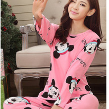 2015 New Women Cotton Pajamas Set Homewear Sleepwear Sets Soft Pajamas Women Nightgown Fashion Style Pajamas