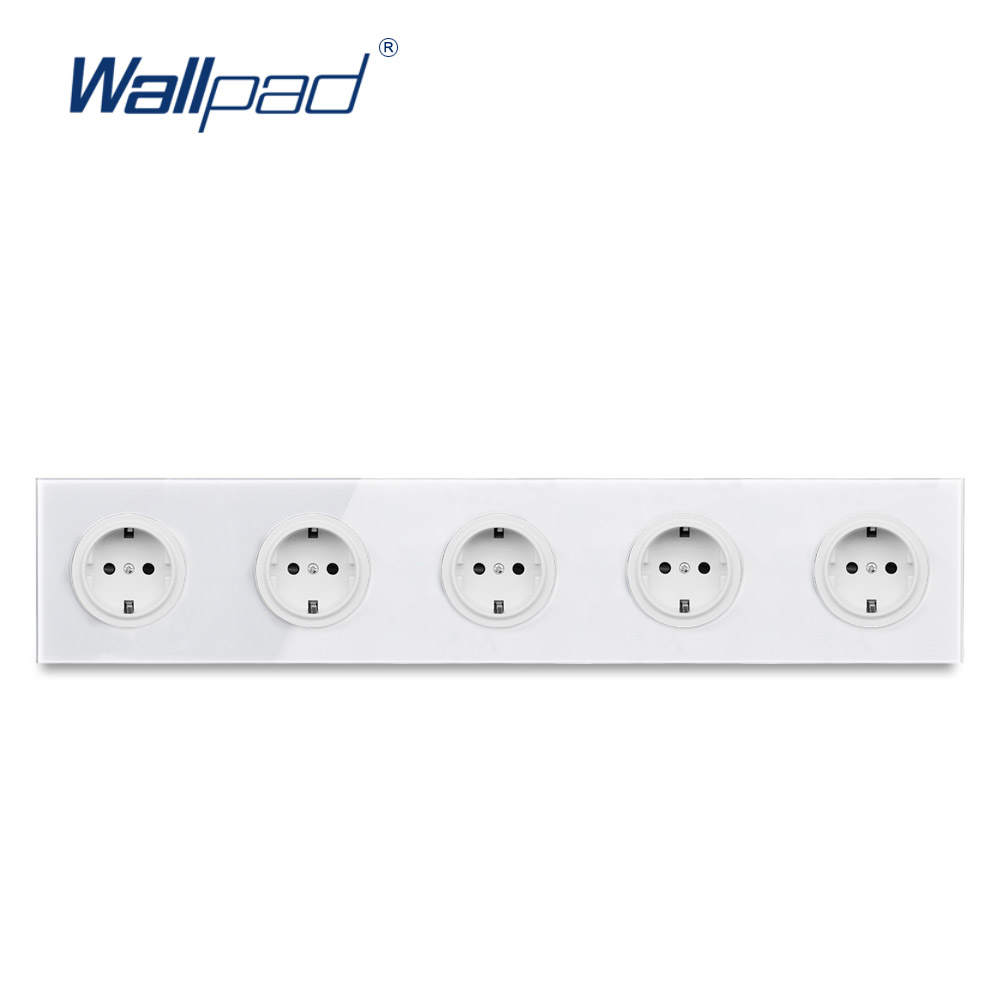 L6 Quintuple 5 Way EU Plug Schuko Power Outlet Wall Socket With White Tempered Glass Panel 430*86mm With Child Protection