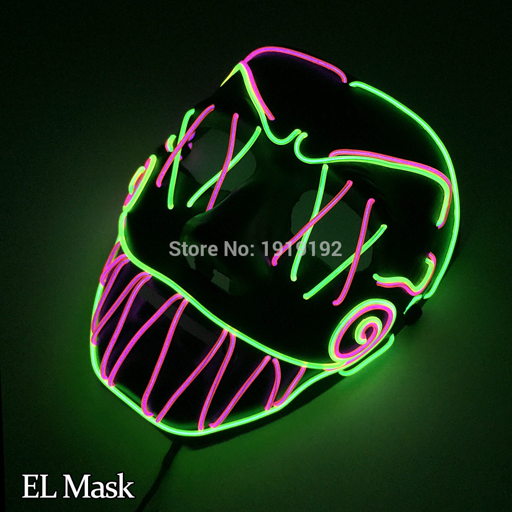 New Fashing EL Mask Energy saving Colorful Select el wire mask by 3V Steady on For Halloween holiday Party Mask Decoration