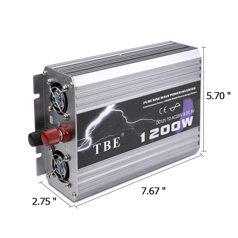 Onduleur de voiture 1200 W onde sinusoïdale Pure DC 12 V à AC 220 V 50Hz onduleur chargeur convertisseur puissance maximale 2400 W alimentation de véhicule - 2