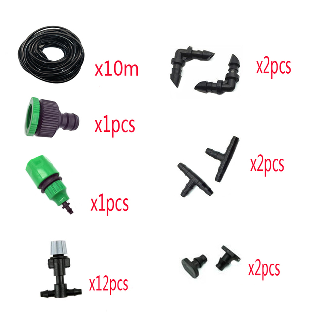 1 Sets Fog Nozzles irrigation system Portable Misting Automatic Watering 10m Garden hose Spray head with.jpg 640x640 - 1 Sets Fog Nozzles irrigation system - Automatic Watering 10m Garden hose Spray head with 4/7mm tee and connector - garden-supplies -