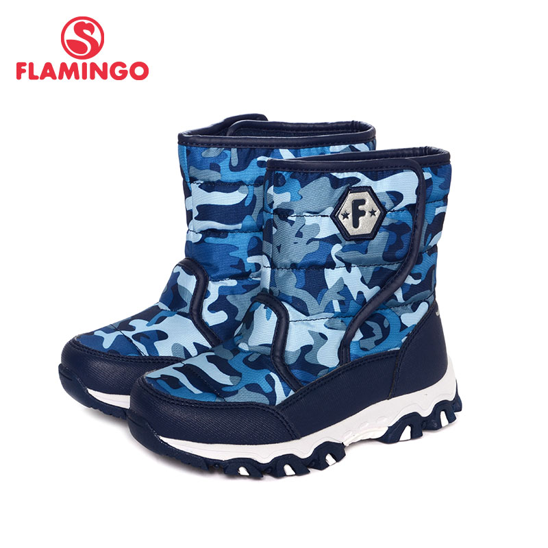 FLAMINGO Winter High Quality Orthotic Arch Waterproof Wool Keep Warm Kids Shoes Anti-slip Size 30-35 Snow Boots for Boys W6NQ082 gsou snow brand winter ski suit men ski jacket pants waterproof snowboard sets outdoor skiing snowboarding snow suit sport coat
