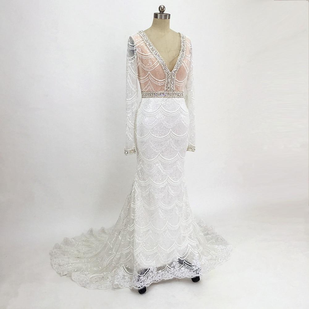 Romantiska Långpärlor Bröllopsklänningar Långärmade Spetsar - Bröllopsklänningar - Foto 3